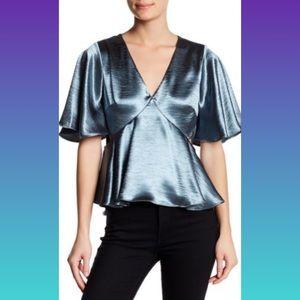 Ro&De  Shiny V-Neck Cutout-Side Blouse Size L